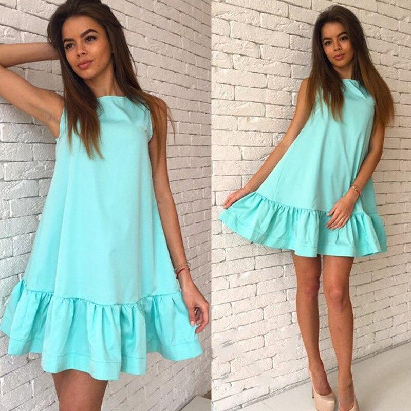 2017 damska vestidos sexy ruffles dress lato casual linia bez rękawów bodycon dress kobiety party plus rozmiar krótki mini suknie 8