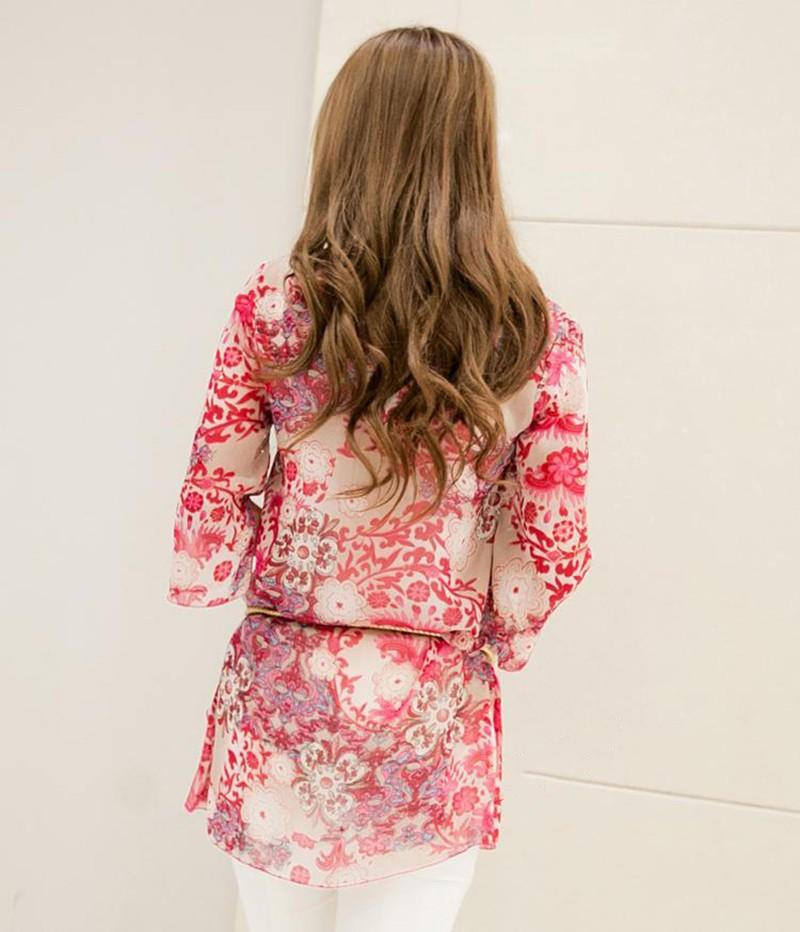2017 new fashion kobiety bluzka koszula lato w stylu kobiety vestidos szyfonowa Mini Suknia Plus rozmiar 4XL floral Casual Topy Blusas Mujer 15