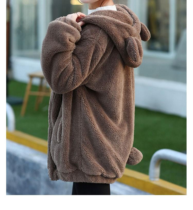 Hot Sprzedaż Kobiety Swetry Zipper Dziewczyna Zima Luźne Puszyste Niedźwiedź Ucha Bluza Z Kapturem Kurtka Warm Odzież Wierzchnia Płaszcz słodkie bluza H1301 12