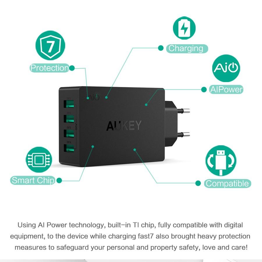 Aukey uniwersalny 4 porty usb ładowarka podróżna ładowarka ścienna adapter do iphone7 samsung s6 smart phones/pc/mp3 i usb urządzeń mobilnych 4