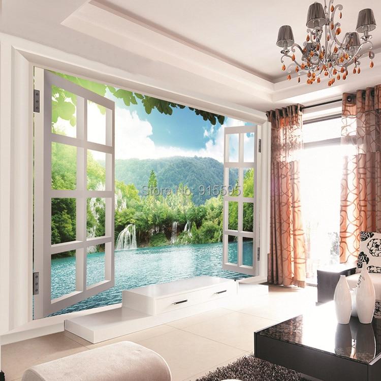 Niestandardowe 3d wodospady las zobacz okno 3d art mural mural tapety salon sypialnia przedpokój pokój dziecięcy fototapety 5