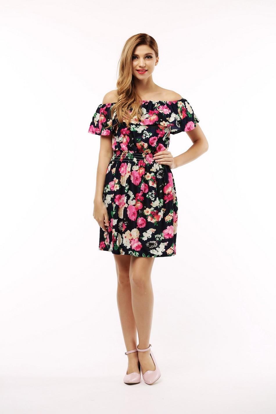 2017 fashion nowa wiosna lato plus size odzież kobiet floral print wzór sukienki na co dzień vestidos wc0472 4