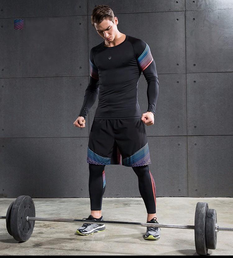 3 Sztuka Zestaw męska sport przebiegu stretch rajstopy legginsy + t shirt + spodenki spodnie treningowe jogging fitness gym kompresji garnitury 27