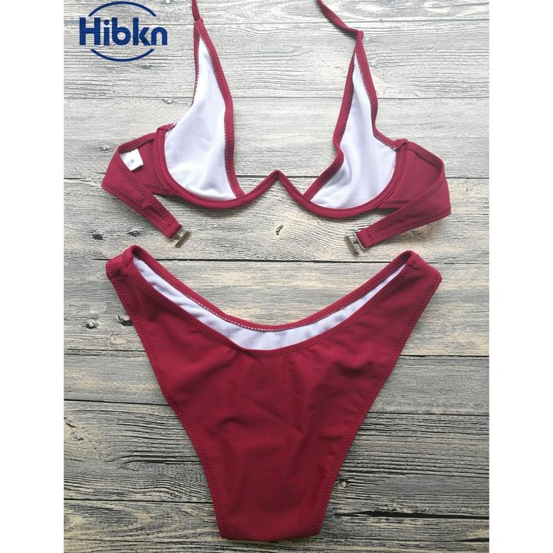 Bikini 2017 wysoka cut stringi stroje kąpielowe kobiety Brazylijski Biquini strój kąpielowy wysokiej talii strój kąpielowy Stałe pływać plaża micro bikini set 14