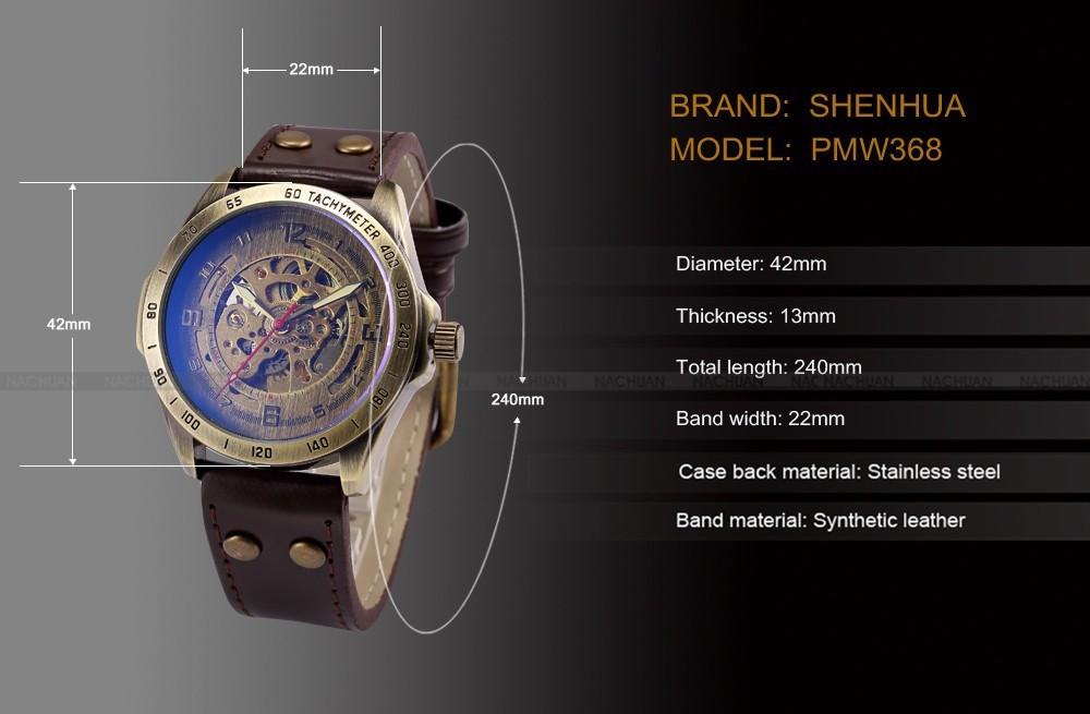 Luksusowe marki męska retro bronze steampunk szkielet automatyczne mechaniczne relogio skórzane sportowe męskie w stylu vintage casual wrist watch 2