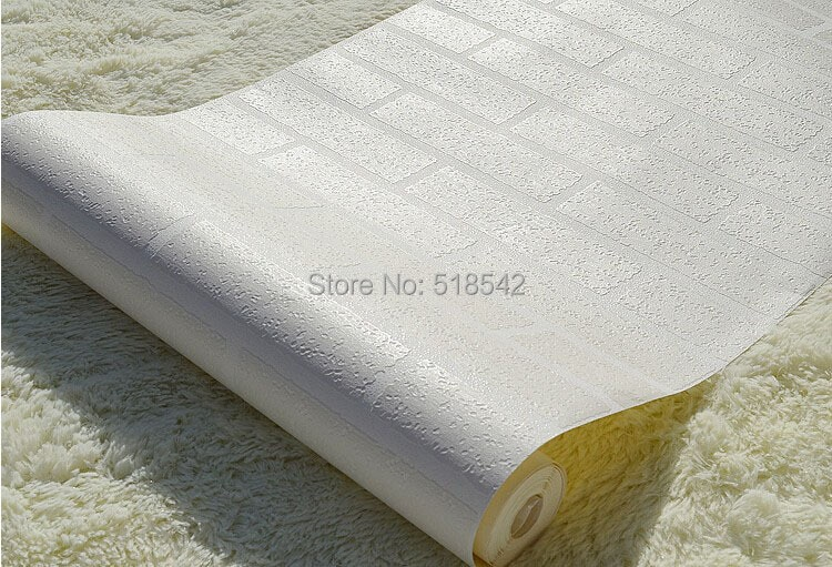 Nowoczesne 3D Cegły Off Biała Piana Grube Tłoczone Winylu oblicowywanie Ścian Ściany Rolki Papieru Tle Ściany salon Sypialnia Tapety 11