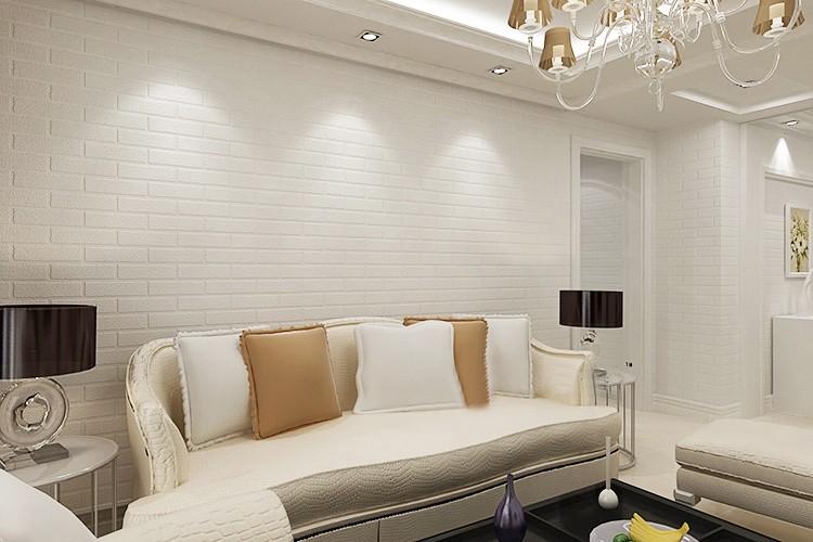 Nowoczesne 3D Cegły Off Biała Piana Grube Tłoczone Winylu oblicowywanie Ścian Ściany Rolki Papieru Tle Ściany salon Sypialnia Tapety 3