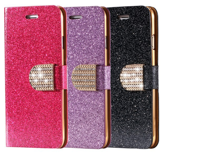 Dla iphone 6 6s plus 7 plus cover glitter bling kryształ diament skórzany portfel case do samsung galaxy s6 edge plus s7 edge torby 11