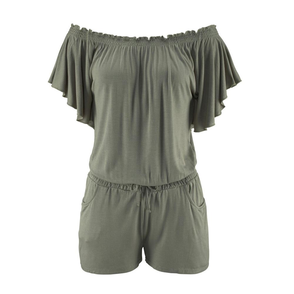 Elegancki kombinezony pajacyki Kobiet kombinezon 2017 dorywczo lato stałe Off shoulder sexy plus size Playsuit Bodycon Clubwear B2 8