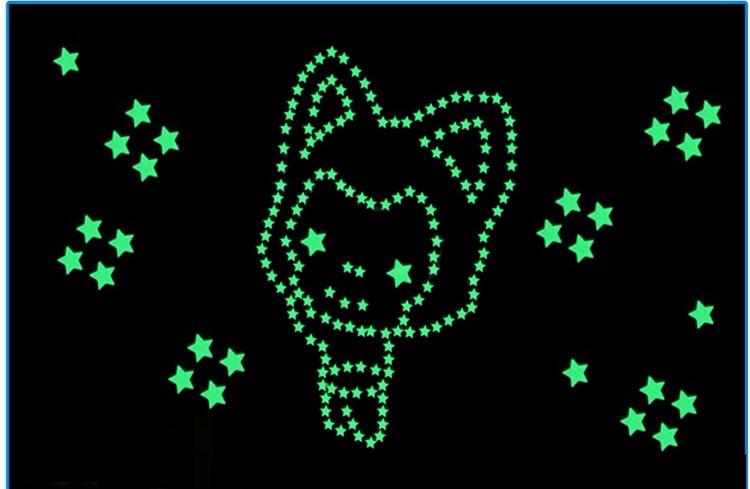 Darmowa Wysyłka Nowy Gorący 100 sztuk 3D Gwiazdy Świecą W Dark Luminous Jarzeniowe Plastikowe Naklejki Ścienne Living Home Decor Kids pokoje 14