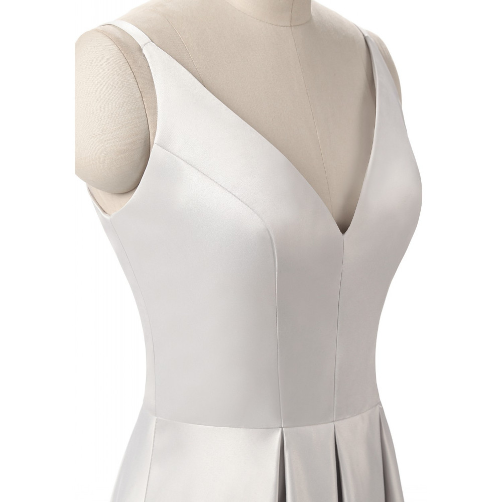 Elegant V-Neck Pleat Satin Long Evening Dress 8