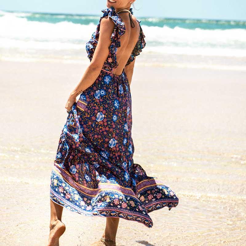 Boho zainspirowany 2017 letnie sukienki kwiatowy print cotton backless długi maxi dress hippie chic ruffles rękawem kobiety sexy vestidos 8