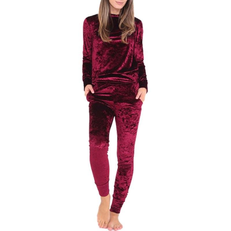 WJ Seksowne Kobiety Dres Ustawia 2017 Nowy Jesień Zima Moda Aksamitne długi Rękaw Bluzy Topy + Spodnie Wąskie Garnitury Femme 2 Sztuka Zestaw 3