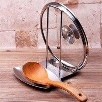 Panela de aço inoxidável pote tampa rack suporte colher titular fogão organizador armazenamento em casa sopa colher repousa ferramentas cozinha