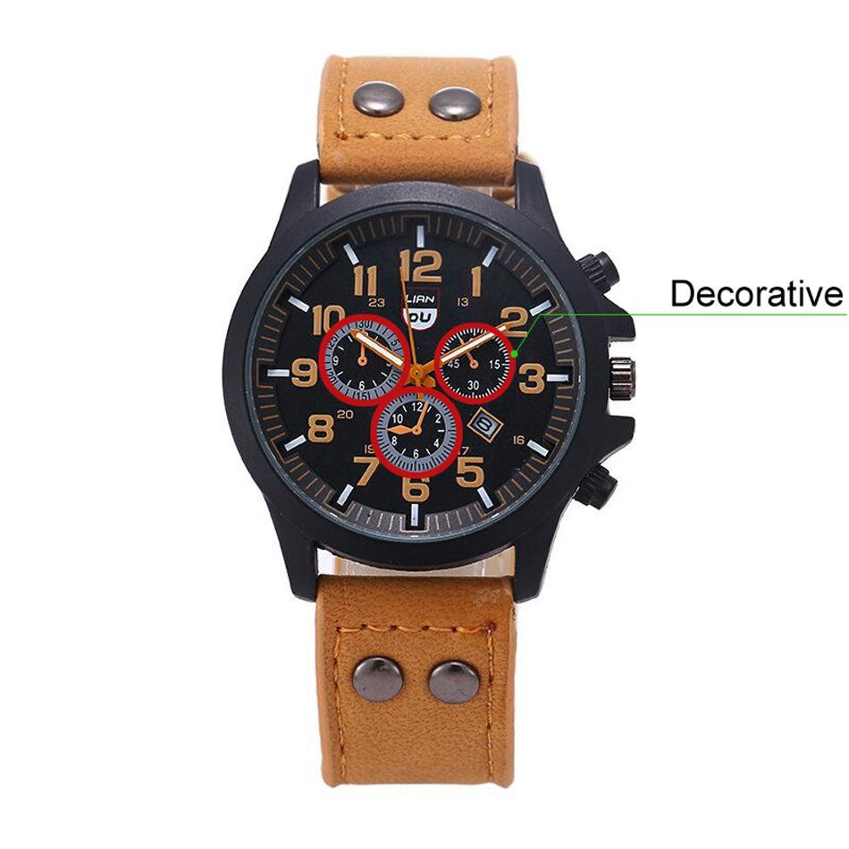2016 New Business Quartz watch Men sport Zegarki Wojskowe Mężczyźni Corium Skórzanym Paskiem armii zegarek zegar godziny Kompletna Kalendarz 16
