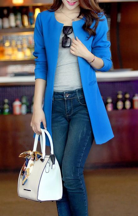 2016 Kobiety Długi Blezer Kurtki 4 Kolory New Fashion Solidna Casual Plus Rozmiar Płaszcz Blazer Feminino 8