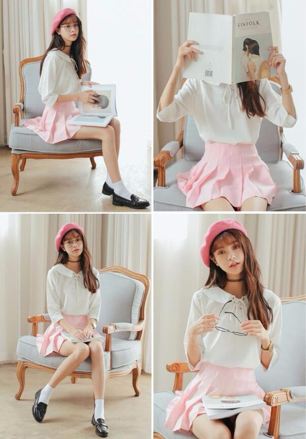 Elegant half pleated high waist mini skirt 4