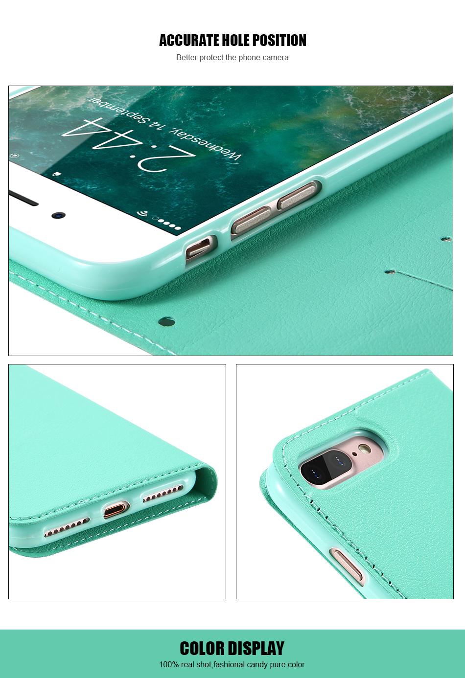 Kisscase candy kolor skóry case dla iphone 7 7 plus odwróć karty portfel slot case pokrywa dla iphone 6 6s plus 5S 5c 4S z logo 10