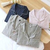 Pijamas de algodón para hombre y mujer, ropa de dormir Simple de primavera y otoño, traje de algodón para parejas, novedad