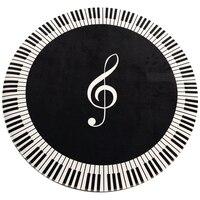 Promotion! New Carpet Music Symbol Piano Key Black White Round Carpet Non-Slip Carpet Home Bedroom Mat Floor Decoration