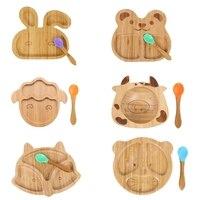 Baby Natural Bamboo Bowl Spoon Set Cartoon Animal Divided Dinner Plate Infants Learning Feeding Dish Newborn Children Tableware