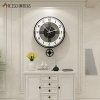 MEISD 장식 벽시계 현대 디자인 시계 홈 인테리어 거실 주방 블랙 Horloge 라운드 무료 배송