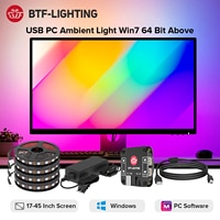 USB Computer Monitor Backlight Full Kit Desktop PC Screen DIY Ambient Lighting WS2812B RGBIC LED Strip for Win7 64 Bit Above 5V