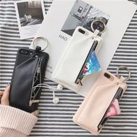 Pu高級レザーファスナー財布ケースiphone × xr xs最大7 8 6 6sプラスカバーファッションスタイルハードpcバック携帯電話バッグキャパ