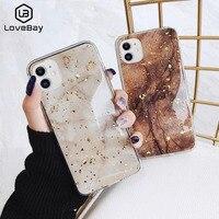 Lovebay電話ケースiphone 11 6 6s 7 8プラスx xr xs最大高級ブリンブリンゴールド箔大理石glitterソフトiphone 11プロマックス