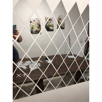 ✅17/32/58Pcs DIY 3D 거울 벽 스티커 다이아몬드 삼각형 아크릴 벽 거울 스티커 아이 방 거실 홈 장식