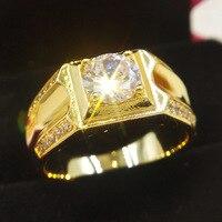 사이즈 7-12 클래식 골드 컬러 라인석 큐빅 지르코니아 남자 반지, 블랙 에나멜 남성 18 KRGP 손가락 반지 베스트 셀러