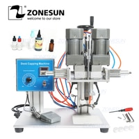 ZONESUN E-juice 전자 액체 데스크탑 트리지 캡 캐퍼 트위스트 유리 드로퍼 스파우트 파우치 병 캡핑 기계