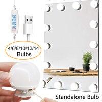 14 분리형 전구 LED 전문 메이크업 미러 빛 USB 화장품 거울 빛 할리우드 드레싱 테이블 허영 조명