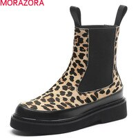 MORAZORA 2020 חדש הגעה נשים מגפיים באיכות גבוהה נוח גבירותיי נעלי סתיו החורף Leopard קרסול מגפי אישה