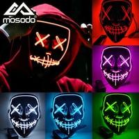 Led Lichtgevende Masker Halloween Decoratie Carnaval Glow In The Dark Grimas Party Fluorescerende Maskers Decoratie Festival