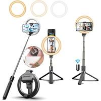 Selfie מקל עם LED למלא טבעת אור חצובה מחזיק טלפון Stand מנורת עבור YouTube TikTok קטעי וידאו חי זרם איפור ringlight לוז