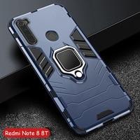 Für Xiaomi Redmi Hinweis 8 T Fall Rüstung PC Abdeckung Metall Ring Halter Telefon Fall Für Redmi Hinweis 8 8 T Abdeckung Durable Stoßfest Stoßstange