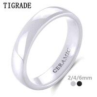 Tigrade 2/4/6mm White Ceramic Ring Black Wedding Engagement Band Men Women Rings Minimalist Fashion Special Anillos Gentle