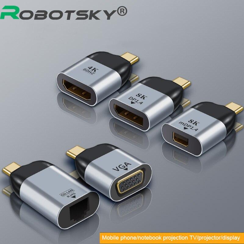4k Type C Adapter Type-C To HDMI-Compatible / VGA / DP / RJ45 / Mini DP Video Converter 60hz For Macbook Huawei Mate USB-C Type