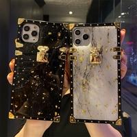高級ブリンブリンゴールド箔大理石正方形電話ケースiphone 12 11 7 8プラスx xr xs最大glitterソフトカバーhuawei社P30 P40ケース