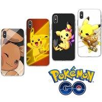Coque de téléphone en Silicone transparente, dessin animé Pokemon, Pikachu, pour IPhone Xr Xs 6 7 8 11 12, cadeau