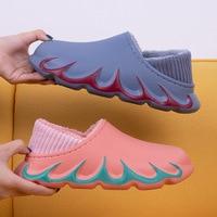comemore 2021 New Waterproof Non-Slip Home Women Slippers Winter Autumn Warm Indoor Cotton Men Couples Shoes Plush Comfortable