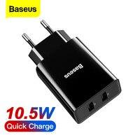 Baseus Mini Dual USB Ladegerät Für iPhone 12 11 Pro Adapter EU Stecker Reise Ladegerät Phone Für Samsung Xiaomi mi Telefon Ladegerät