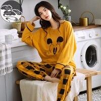 Pijama de manga larga para mujer, ropa de dormir de algodón con dibujos animados, M, L, XL, XXL, XXXL, a la moda, primavera y otoño