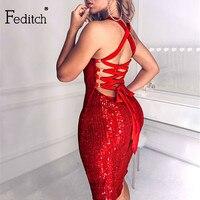 Feditch 2021 נצנצים נצנצים תחבושת שמלה סקסית ללא משענת חלולה מתוך שרוולים Bodycon שמלת Sparkle המפלגה מועדון Vestidos בגדים