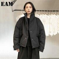 [EAM] שחור חם קצר צווארון עומד כותנה מרופדת מעיל ארוך שרוול Loose Fit נשים מעיילי אופנה גאות חדש סתיו חורף 2021