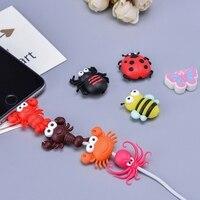 100pcs Nette Cartoon Tier Beißen Insekten Stil USB Daten Ladekabel Protector Abdeckung für iPhone USB Ladegerät Kabel Protector
