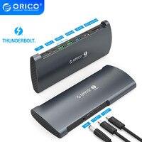 ORICO Echt Thunderbolt 3 Dock Aluminium 40Gbps USB Typ C HUB zu 8K DP HDMI-kompatibel USB 3,0 RJ45 SD 4,0 PD Mit Power Adapter