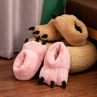 Zapatillas de algodón redondo con dibujos animados para hombre y mujer, calzado cálido, antideslizante, color rosa, con dibujos animados de oso, decoración navideña, Unisex