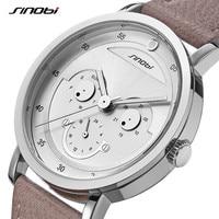 SINOBI Creative Design Mens Smile Face Watch High Quality Man Quartz WristWatches Male Calender Week Clock relogio masculino AAA